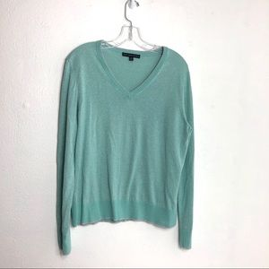 Brooks Brothers 346 Metallic Mint V-Neck Sweater